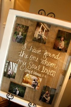 made out of an old window, white paint pen writing on front of window, double stick tape on the pics behind the glass, then staple gun for the burlap on back.. want to make a version of this for my house!!