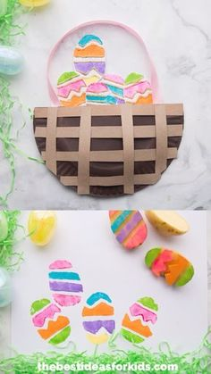 POTATO STAMPED EASTER EGGS - such a fun and easy Easter craft for kids! Make this easy Easter paper plate basket and fill it with potato stamped Easter eggs! This is a fun Easter craft activity for kids of all ages! Bunny Crafts, Easter Crafts For Kids, Toddler Crafts, Preschool Crafts, Easter Ideas, Kids Diy, Easter Decor, Easter Centerpiece, Easter Projects