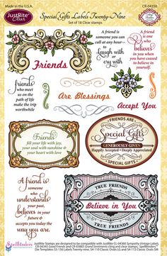 Justrite PaperCraft CHA Winter Release | Special Gifts Labels Twenty Nine, scrapbooking and craft ideas with rubber stamps, clear stamps and cling stamps | Clear stamps |