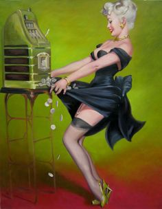 Jackpot Classic Pinup Girl - I love the way the stockings show.
