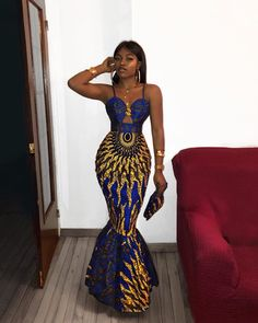 african clothing styles Azura African dress with matching headwrap TrueFond African Prom Dresses, Prom Girl Dresses, African Wedding Dress, Prom Outfits, Sexy Dresses, Dress Prom, African Dress Styles, Modern African Dresses, Wedding Dresses
