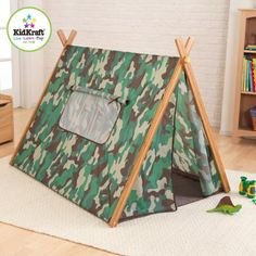 Spread the loveWith this sturdy KidKraft Tent, kids can pretend they are camping out in the wilderness right inside the house. Smooth wooden supports provide quick assembly. It has a sewn-in floor. Set it up in any room for a fun adventure. The window flaps can be rolled open then tied to allow ventilation and supervision. The door closes with a full-length zipper. The kids' camo tent features an authentic camouflage design so it is just like grown-up…