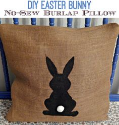 This Ole Mom: No-Sew Burlap Easter Bunny Pillow