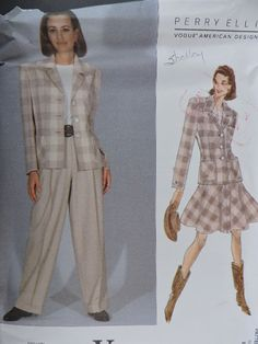 SeeSallySew.com - American Designer Perry Ellis Jacket Skirt Cool Patterns, Stitch Patterns, Sewing Patterns, Fashion Patterns, Costume Patterns, Perry Ellis, Skirt Pants, Fashion Pants, Vogue