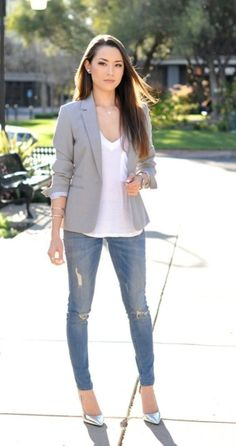 Inspiration casual blazer outfits for ice girls, Worth trying these beautiful Casual wear. How to wear grey blazer for girls 15 great ideas, Find out these treanding Casual Friday. Great ice work outfits with blazer, You can't miss these Dress. Summer Office Outfits, Casual Work Outfits, Business Casual Outfits, Mode Outfits, Work Casual, Casual Chic, Casual Wear, Fashion Outfits, Casual Blazer
