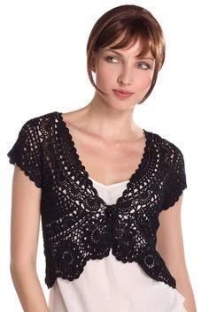 Bolero - Free chart for more advanced crocheters via http://kimcrinochet.blogspot.com.br/2012/10/whether-black-grey-or-nude-color.html.