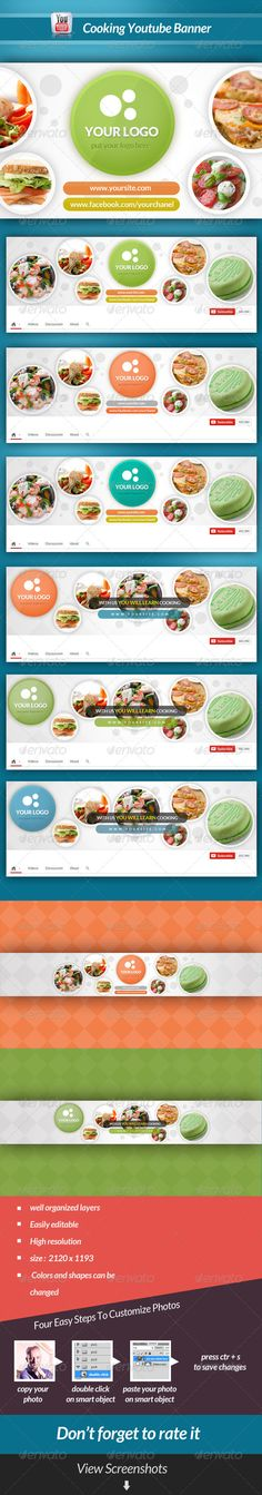 Cooking Youtube Banner Template PSD. Download here: http://graphicriver.net/item/cooking-youtube-banner/6860372?ref=ksioks