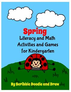 Spring printable literacy and math centers for kindergarten!