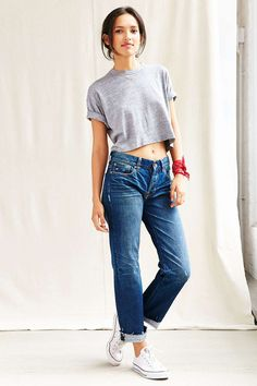 Vintage Grey Crop Top - Urban Outfitters