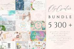 5300 in 1 ~ Olya.Creative Bundle by Olya Creative Art on Watercolor Kit, Watercolor Pattern, Floral Watercolor, How To Draw Ribbon, Gyr, Owl Illustration, Monochrome Pattern, Art Design, Graphic Design