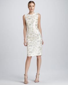 Kalinka Sleeveless Lace and Sequined Cocktail Dress - Neiman Marcus
