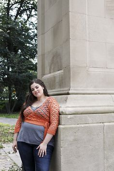 "Ravelry: Wrapt cropped wrap lace top crochet pattern by Mary Beth Temple, in her new book Curvy Girl Crochet: 25 Patterns that Fit and Flatter. Sized by underbust measurements (44"" - 64"")."