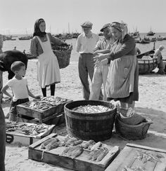 Artur Pastor: Fish selling in Sesimbra. (Municipal Archive of Lisbon) Algarve, Portugal, Working People, Women In History, Lisbon, Black And White Photography, Fish, Couple Photos, Archive