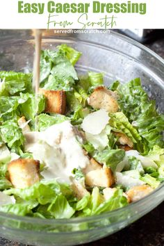 This Easy Caesar Dressing From Scratch is so easy it'll make you'll never use a store-bought salad dressing again and wonder why you didn't make it sooner! Best Salad Recipes, Salad Dressing Recipes, Sauce Recipes, Salad Dressings, Cheese Recipes, Easy Recipes, Mexican Street Corn Salad, Mexican Street Food, Easy Salads