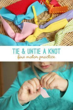 Fine Motor Knot Tying Activity. Read more about this great way to work on those fine motor skills. An easy center to set up in your special education classroom. Read more at: http://handsonaswegrow.com/fine-motor-knot-tying-activity/
