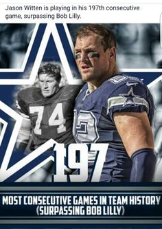 Jason Witten is playing in his consecutive game, most in team history. Dallas Cowboys Quotes, Dallas Cowboys Players, Dallas Cowboys Pictures, Cowboys 4, Cowboy History, Jason Witten, How Bout Them Cowboys, Longhorns, Football Spirit
