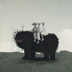 Kids riding monster, collage -- Q-TA