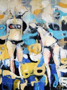 """Saatchi Art Artist Magdalena Krzak; Abstract Painting, """"Hanging Out"""", Featured in Saatchi Art's Best of 2016 collection, hand-picked by Chief Curator Rebecca Wilson #art"""