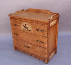 "Rustic Monterey Period dresser with hand-painted cowboy details. Crackled finish. 37"" H x 37"" W x 18.5"" D"