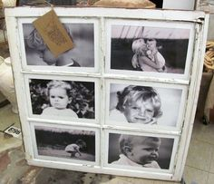Photo Display Made From Old Window Frame