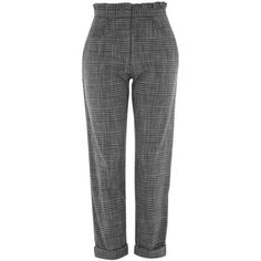 Topshop Ruffle Check Mensy Trousers ($52) ❤ liked on Polyvore featuring pants, viscose pants, checked pants, high-waisted pants, ruffle pants and checked trousers