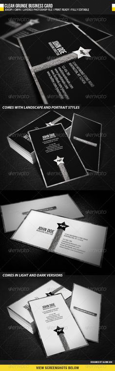 Clean Grunge Business Card  — PSD Template #template #clean • Download ➝ https://graphicriver.net/item/clean-grunge-business-card/630218?ref=pxcr