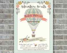 Hot Air Balloon Baby Shower Invitation Up Up & Away Baby