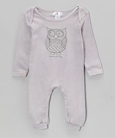 Gray 'Whooo's Your Baby' Playsuit - Infant   Daily deals for moms, babies and kids
