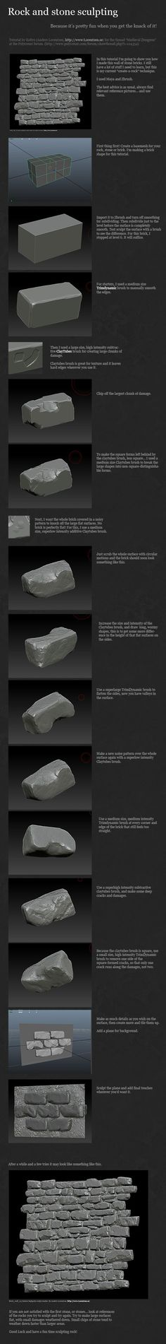 Medieval Dungeon [UDK] - Page 2 - Polycount Forum. Some tips on how to model rocks/stones and put in dents. Maya Modeling, Modeling Tips, Zbrush Tutorial, 3d Tutorial, Blender 3d, Zbrush Environment, Low Poly, Zbrush Models, Hard Surface Modeling