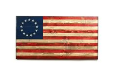 """Flags of Valor. """"Midway,"""" 13 star Betsy Ross wooden American flag. Handmade in the United States by American Combat Veterans."""