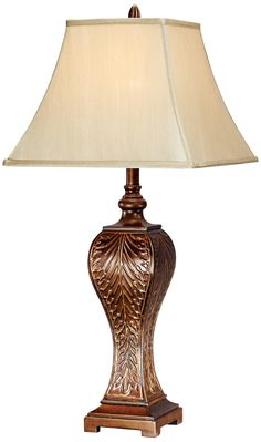 Embossed Metal Table Lamp with Faux Silk Shade -