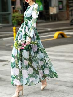 To find out about the Flowers Print Tie-Waist Maxi Dress at SHEIN, part of our latest Day Dresses ready to shop online today! Floaty Dress, The Dress, Dress Skirt, Chiffon Skirt, Bodycon Dress, Hippie Dresses, Day Dresses, Summer Dresses, Pretty Dresses