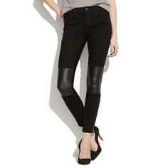 patchwork leather leggings