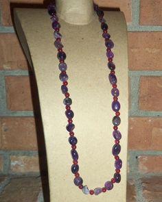 Genuine Purple AMETHYST and RED JADE Gemstone by PastsPresents, $16.00