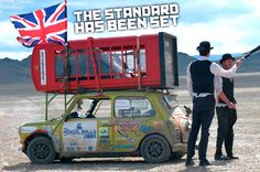 Driving with A Red Phonebox on top of a Classic Mini - From London to Mongolia