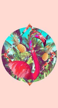 pink, wallpaper, and flamingo image Illustrations, Illustration Art, Flamingo Illustration, Cute Wallpapers, Wallpaper Backgrounds, Iphone Wallpapers, Motif Tropical, Tropical Dress, Tropical Colors