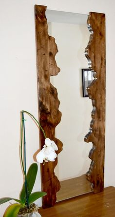 Wooden mirror Wooden mirror frame Rustic mirror by JuniperWoodshop - holzspiegel holzspi .Wooden mirror Wooden mirror frame Rustic mirror by simple DIY mirror frame ideas you can do nowPlayful DIY Wood Slice mirror frame Rustic Mirrors, Cool Mirrors, Wood Framed Mirror, Home Decor Mirrors, Diy Mirror, Decorative Mirrors, Vanity Mirrors, Wall Mirror Ideas, Mirror Makeover
