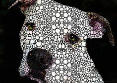 Stone Rock'd Dog By Sharon Cummings Painting by Sharon Cummings -  Fine Art #faabest #Dogs #Pitbulls