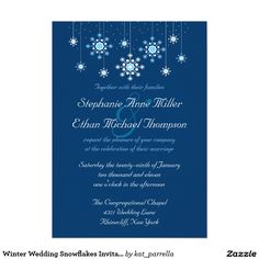 "Winter Wedding Snowflakes Invitation 5"" X 7"" Invitation Card"