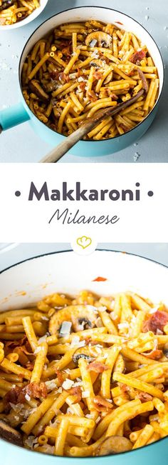 Makkaroni Milanese- schnell, deftig, einfach gut Macaroni with a lot of melted cheese, mushrooms, ha Noodle Recipes, Pasta Recipes, Cooking Recipes, Milanesa, Healthy Eating Tips, Healthy Recipes, Healthy Food, Bacon, One Pot Pasta