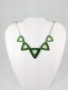 Paper Quilled Green Triangles St. Patrick's Day Necklace - paper quilling necklace, paper quilled jewelry, paper quilled triangles