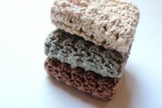 Buy Knitted washcloth/dishcloth / organic cotton / cotton washcloths / newborn washcloths / baby shower gift / bridal shower gift Ready to Ship by knitsandwhatknots. Explore more products on http://knitsandwhatknots.etsy.com