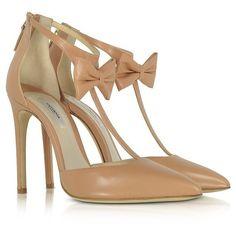 Olgana Paris Shoes La Garconne Nude Leather High-Heel Pump (20 800 UAH) ❤ liked on Polyvore featuring shoes, pumps, pointed-toe pumps, nude high heel shoes, leather sole shoes, nude pumps and ankle strap high heel pumps