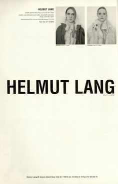 Helmut Lang Campaign, photographed by Juergen Teller, Fall/Winter 1990
