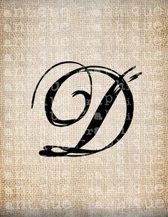 Antique Letter D Script Monogram Digital by AntiqueGraphique, $1.00