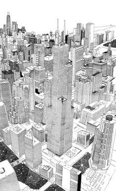 Chicago-oooooooooooooo Chicago Map, Concrete Architecture, Travel Illustration, Ink Pen Drawings, Illustrations And Posters, Laser Cutting, Illustrators, Perspective, Cool Art