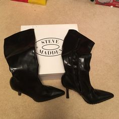 """Steve Madden boots Steve Madden Hiho Black Paris knee high stiletto boots with 4"""" heel. Inside zipper closure. Gently worn soles but not visible signs of wear on boots themselves. From a nonsmoking home. Steve Madden Shoes Heeled Boots"""