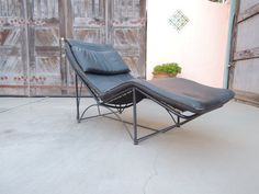 Mid Century Modern Style Black Leather Chaise Los Angeles by HouseCandyLA, $560.00