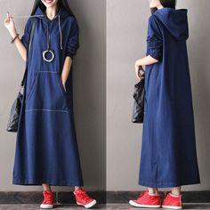 Hooded Loose Long Sleeve Denim Dress