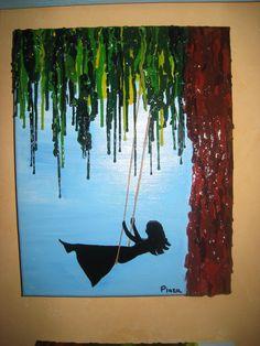 Handmade - Girl Swinging - melted crayon on acrylic